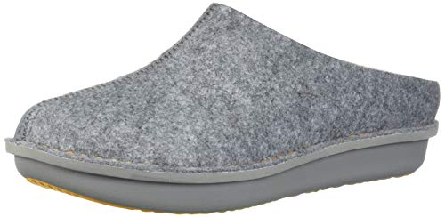 CLARKS Women's Step Flow Clog, Grey Felt with Faux Fur, 9 M US