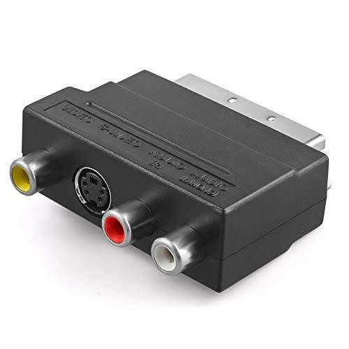 CVBN Adaptador de Cable de Audio RGB Scart a Compuesto RCA SVHS S-Video AV TV, Negro