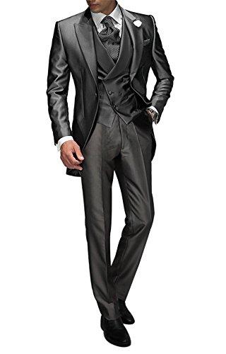 Suit Me Tailored - Traje para hombre de 3 piezas para bodas, fiestas, eventos, con chaleco y pantalones gris S