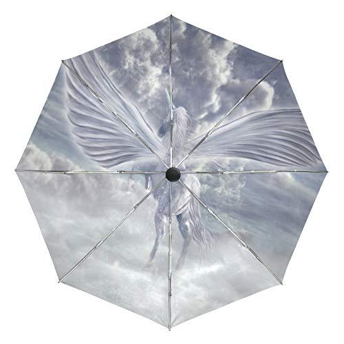 Kleiner Reiseschirm Winddicht Outdoor Regen Sonne UV Auto Compact 3-Fach Regenschirmabdeckung - Fliegender Pegasus Vintage