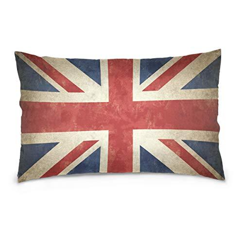 Linomo Funda de almohada de 50,8 x 66 cm, diseño vintage de la bandera del Reino Unido, Reino Unido, Reino Unido, Inglaterra, fundas de almohada decorativas para sofá, cama, hogar