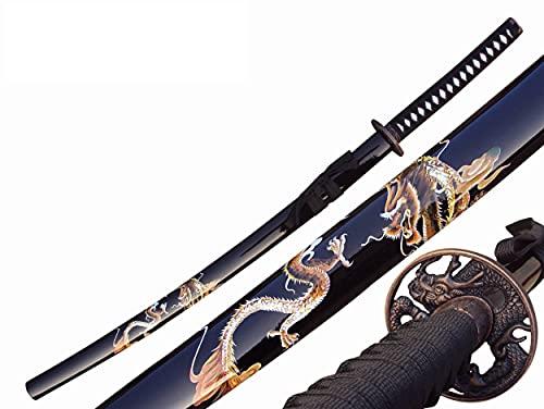 Katana Drache Schwert echt Metall Nicht Scharf Samurai Schwert aus Stahl mit Einer Scheide zur Dekoration für einen Sammler oder als Geschenk 4KM80-405BK