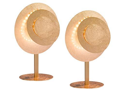 Lot de 2 lampes de table LED exclusives - Couleur godle - 12 W - Hauteur : 35 cm - Lampe design élégante.