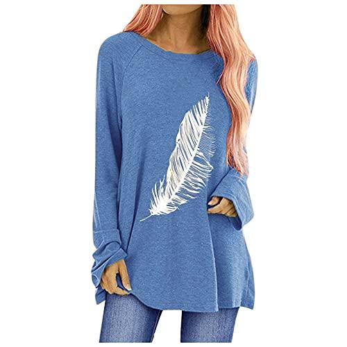 Tops voor vrouwen, overhemden voor vrouwen, herfst mode casual bedrukt ronde hals lange mouwen T-shirt tops…