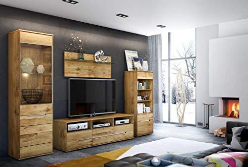 Reboz Wohnzimmer Set Mona Wildeiche massiv mit Beleuchtung