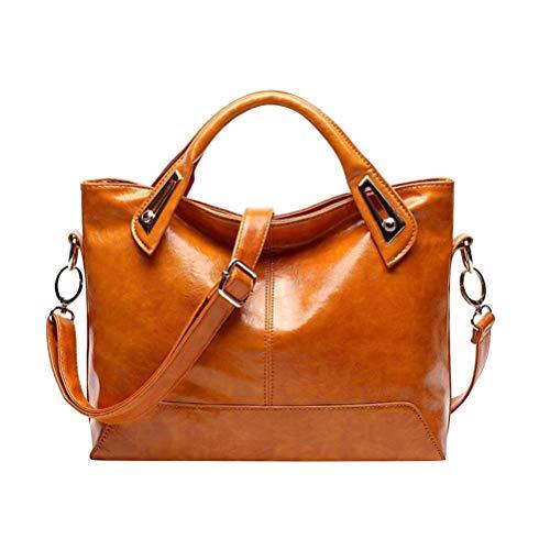 Fenical Damen Damen Handtasche Vintage Luxury Wax Echtleder Tote Umhängetasche Umhängetasche Satchel Handtasche (Hellbraun)
