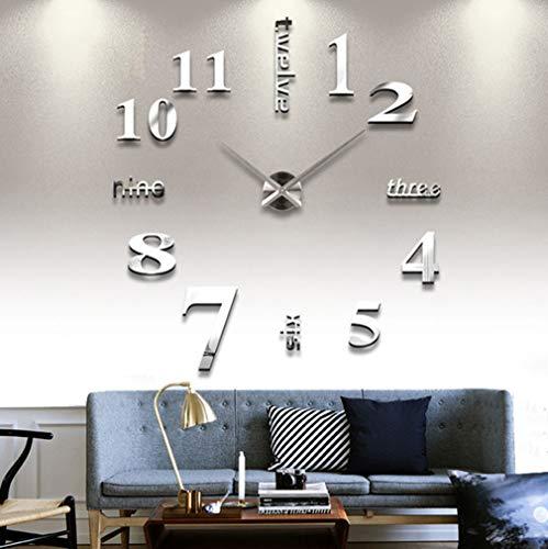 DIY Large Wall Clock 3D Mirror Sticker Big Watch Home Decor Unique Gift (Silver)