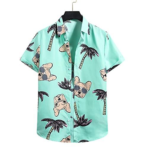 Camicia Spiaggia Uomo Estate Fresca Confortevole Camicia Uomo Vacanza Casual Uomo A Maniche Corte Camicia Hawaii Nuoto Surf Moda Stampa Camicie per Il Tempo Libero Uomo F-Green M