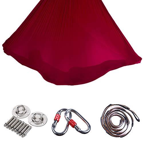 WDMSN Pilates Yoga Silk Tuch Premium Aerial Silks Equipment Elastische HäNgematte...