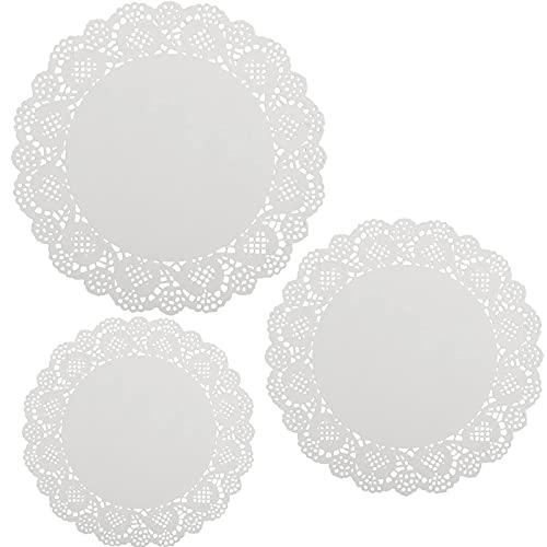 Weiß Tortenspitze, 300 Stück Runde Spitze Papier Spitze Papiermatten in 3 Größen Tortenunterlagen in weiß für Hochzeiten,Geburtstagsfeier,Geschirrdekoration (4.5 Zoll, 6.5 Zoll, 8.5 Zoll)