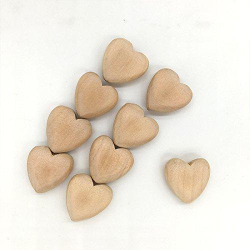 """Coskiss 20PCS Corazones sin terminar de madera con agujeros corazón de madera natural cae el 2.0cm (0.8 """") el colgante del corazón (20)"""