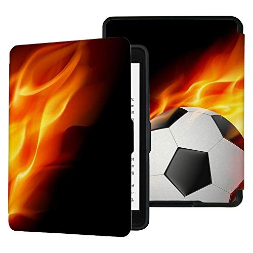 QIYI Slimshell Case Fits All Paperwhite Generations Prior to 2018 Kids eBook Reader Sleeve Covers Smart Accessories PU Leather Kindle Protective Cases with Auto Wake/Sleep - Soccer Ball on Fire