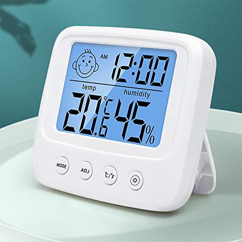 Termómetro Higrómetro Digital, Medidor de Temperatura para Medición de Temperatura y Humedad del Casa Ambiente con luz de fondo, reloj y función ℃ / ℉