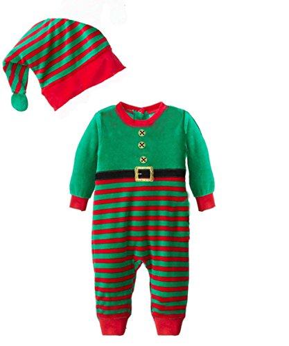 Meihuida Baby Kind Boy Weihnachten Sankt Schneemann-Kostüm Weihnachten Jumpsuits Outfit + Mütze Set (90cm, grün)