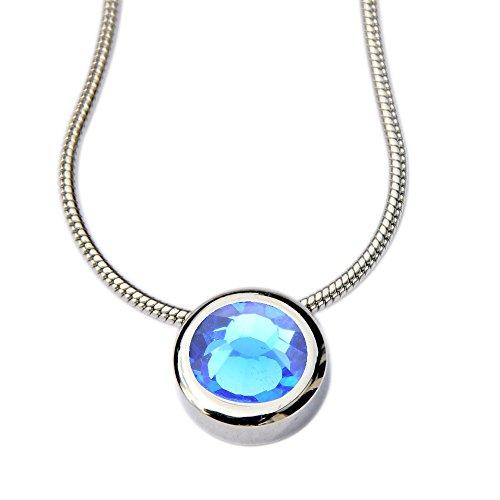 Solitaire Tansanit Saphire blau Energetix 4you 459 Miore Magnet Kettenanhänger Drachenauge hochwertig geschliffener Swarovski Crystal 1788 + Schlangenkette