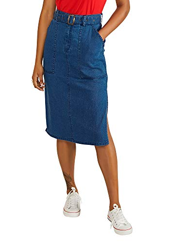 YUMI Vrouwen Rok Longer Line Denim Skirt With Belt Detail