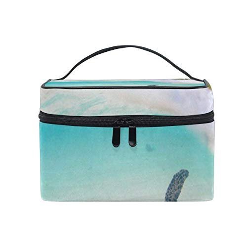 Hawaiian Palm Tree Sea Turtle Cosmetic Bag Portable Grand Trousse de Toilette pour Femmes/Filles Voyage Maquillage Sac