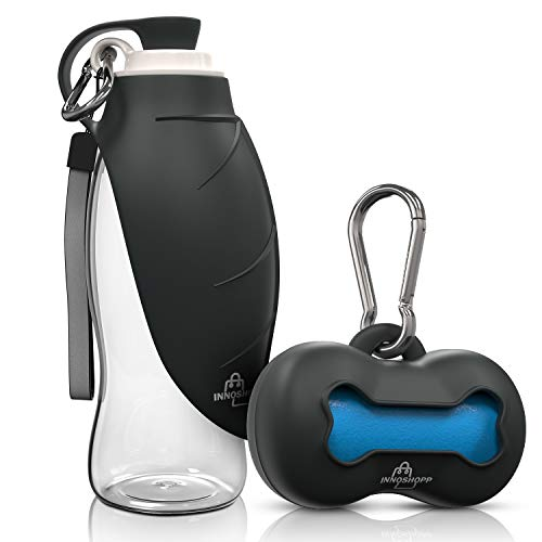 Innoshopp Dog Water Bottle - Portable Travel Dog Water Dispenser Including Carabiner & Waste Bag Dispenser - Leak Proof & BPA Free Dogs Drinking Bottle for Walking, Hiking & Travel