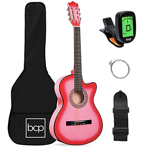 Best Choice Products Beginner Acoustic Guitar Starter Set 38in w/Case, All Wood Cutaway Design, Strap, Picks, Tuner - Pink
