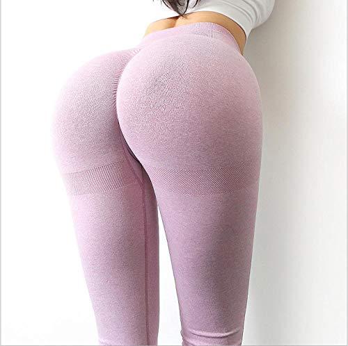 B H Deportivos Algodón Pantalón Polainas,Pantalones de Yoga Que absorben la Humedad, Leggings de Fitness en la Cadera-Rosa Claro_S,Mujeres Levante los Pantalones Control
