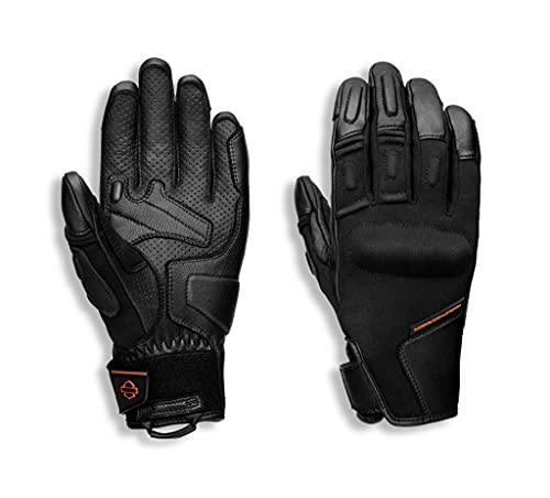HARLEY-DAVIDSON Brawler Damen Motorrad-Handschuhe Atmungsaktiv Power-Stretch-Knöchel Knöchelprotektoren B&S Logo Schwarz, L
