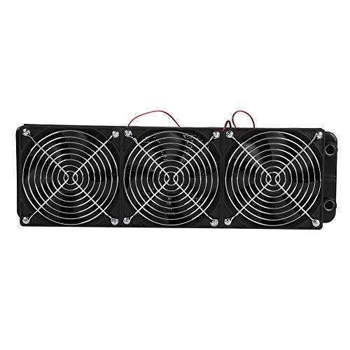 ASHATA Aluminium Radiator, 120mm/360mm CPU Kühler Wasserkühler G1 / 4 Gewinde Radiator,18 Röhren Aluminiumkühler Heat Row Kühler CPU Water Cooler Radiator mit Fans für PC Wasserkühlung(360mm)