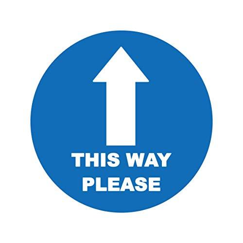 4 x This way please arrow - Señal de seguridad para el suelo del paisaje del distanciamiento social etiqueta autoadhesiva de vinilo resistente a la intemperie - 15 cm x 15 cm - (SC-01)