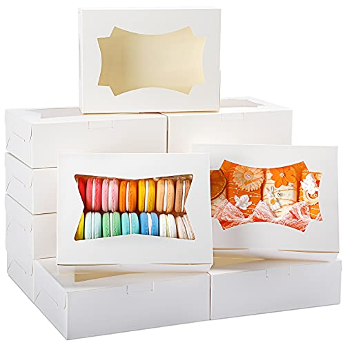 TOMNK 50pcs 8 inch Bakery Boxes for Strawberries with Window White Kraft Cookie Boxes for Cupcakes Candy Chocolate Strawberries Muffins Donuts 8x6x2.5 Inches