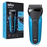 Braun Series 3 310 Rasoio Elettrico Barba, Wet & Dry con 3 Lame Flessibili, Ricaricabile e Senza Fili, Rasoio Elettrico a Lamina Lavabile, Impermeabile, Display LED, Nero/Blu