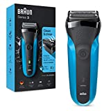 Braun Series 3 310 Rasoio Elettrico Uomo, Wet & Dry con 3 Lame Flessibili, Ricaricabile e Senza Fili, Rasoio Elettrico a Lamina Lavabile, Impermeabile, Display LED, Nero/Blu