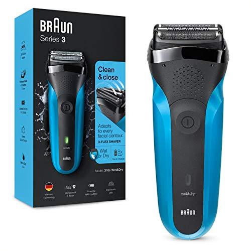 Braun Series 3 310 Rasoio Elettrico Barba, Wet & Dry con 3 Lame Flessibili, Ricaricabile e Senza Fili, Rasoio Elettrico a Lamina Lavabile, Impermeabile, Display LED, Nero Blu