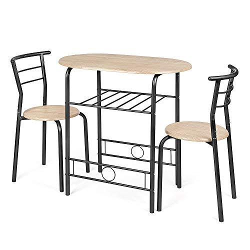 CHRISTOW Dining Table & Chairs Set Of 2, Breakfast Bar Table For 2, Compact...
