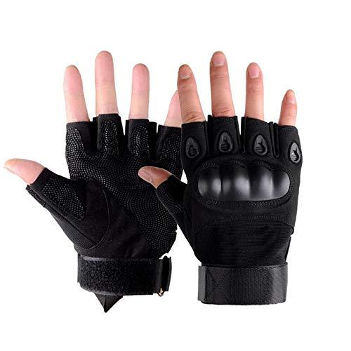 Men Tactical Fingerless Gloves Motorbike Motorcycle Cycling Climbing Hiking Hunting Half Gloves (Black,XL)