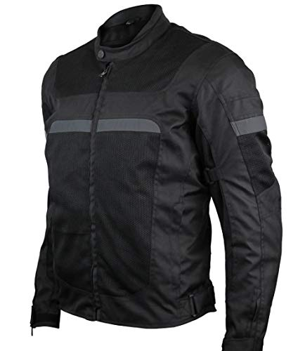 Mens Motorcycle Perforated Textile Reflective Mesh Riding 3 Season Jacket with CE amors (3XL)