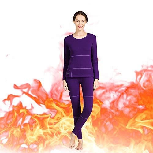 ZY Set Beheizte Unterwäsche Für Damen, Isolierte Beheizte Unterwäsche, Waschbare Thermowäsche Mit Elektrischer USB-Heizung, Einstellbare Temperatur,L