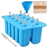 Uponer Molde Helado 10 Rejillas para Helados y Polos de Silicona Reutilizable con 50 Palitos de Madera,Plegable Embudo,Tapa y Cepillo de Limpieza