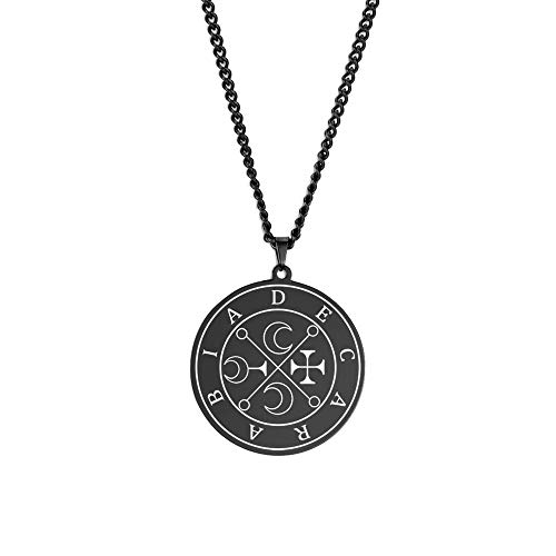Necklace Men Moon Great Marquis Amulet Unisex Stainless Steel Pendant Jewelry 60cm