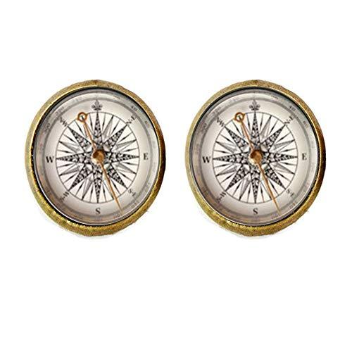Retro Kompass Manschettenknöpfe, Steampunk Nautische Manschettenknöpfe, Old World Segeln, personalisierbar, Geschenk für ihn