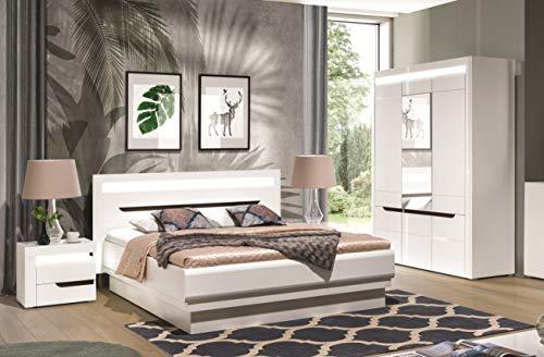 QMM Traum Moebel Schlafzimmer komplett weiß Hochglanz IRIS Set A Schrank LED Bett 200 x 160 Nachttische Soft-Close-System