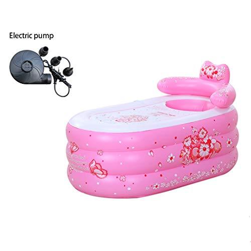 LSZ Aufblasbare Badewanne Badewanne Erwachsene Haushalt Folding Badewanne Bad Barrel Dicke Plastik-Badebottich-Badebottich Aufblasbare Pools (Color : Pink-B, Size : 160 * 80)