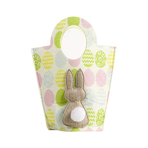 Bolsa para huevos de Easter Bunny Basket – Bolsa de lona de algodón, bolso personalizado, decoración de Pascua con cola esponjosa, cesta de huevos de Pascua para conejos, cubo de regalo para niños