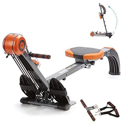 skandika Regatta Multi Gym Poseidon - máquina Remo - Plegable - Sistema de Freno silencioso - Peso 17 kg (Naranja)