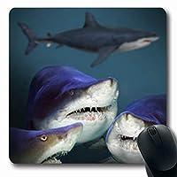 水中のサメ4匹のサメ海グレートライフ野生動物3D自然水泳長方形7.9 X 9.5インチ長方形ゲーム快適滑り止めマウスパッド丈夫な滑り止めラバーマット