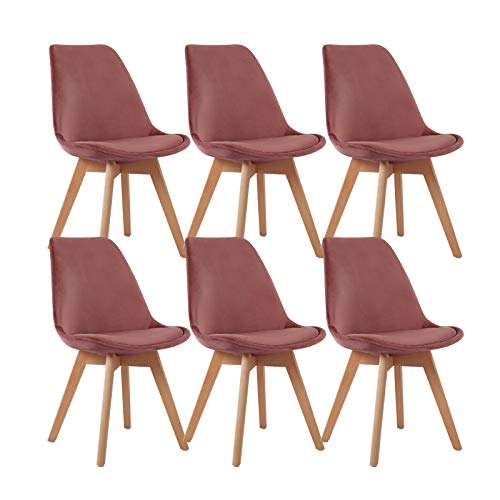 EGGREE 6er Set Samt Esszimmerstühle mit Massivholz Buche Bein, Retro Design Gepolsterter lStuhl Küchenstuhl Holz, Rose