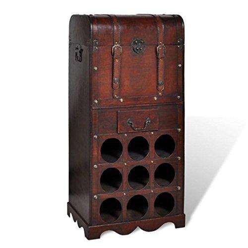 Disfruta Tus Compras con Botellero de Madera para 9 Botellas baúl con cajón