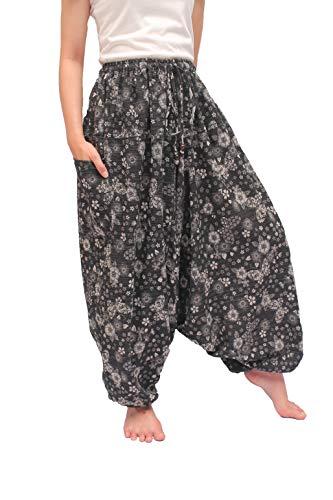 ChiangmaiThaiShop - Pantalones de harén de yoga (100% algodón) - Negro - XL/XXL