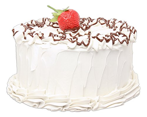 Just Dough It 7' Realistic Vanilla Frosted Cake with Chocolate Drizzle and Strawberry Replica Prop