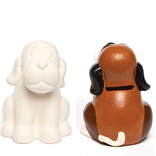 """Baker Ross Keramik-Spardosen """"Hund"""" für Kinder zum Basteln und Dekorieren (2 Stück)"""