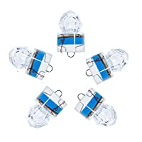 Dr.Fish 5PCs Diamond LED Fishing Lure Bait Attractant Trolling Deep Drop Light Water Trigger Deep Sea Ice Fishing Underwater Freshwater Saltwater Halibut Tuna Bass Blue