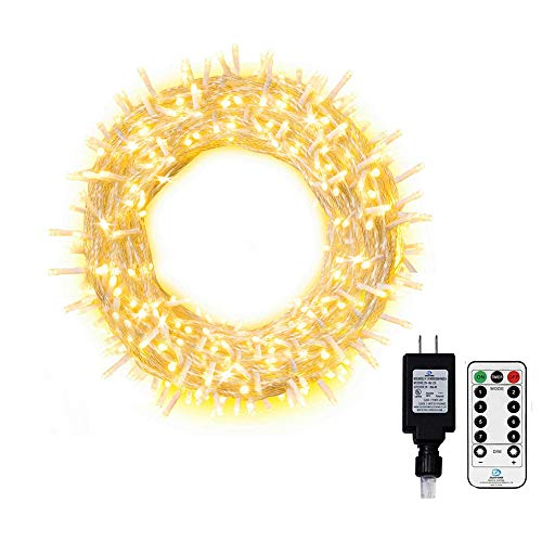 Ollny Outdoor String Lights 66FT 200 LED Christmas Fairy Twinkle Lights Warm White with Remote Control 8 Lighting Modes Plug in Waterproof Lights for Bedroom Indoor Wall Xmas Decorations